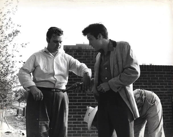 Elvis Presley with Arthur Hooten at Graceland April 22, 1957.