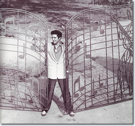 Elvis at the Graceland Gates 1957.