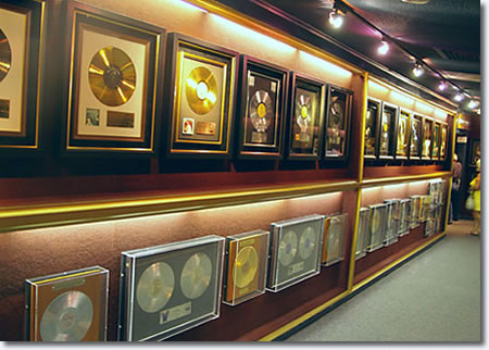 Elvis Presley's Gold Records on display at Graceland.