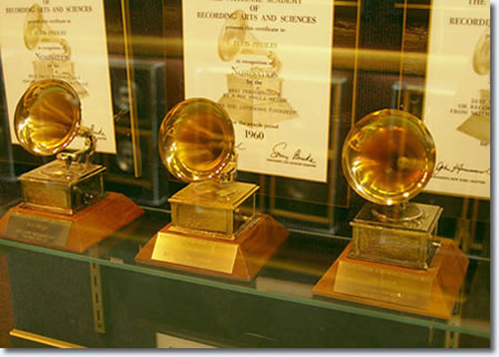 Elvis Presley's three Grammy Awards on display at Graceland.