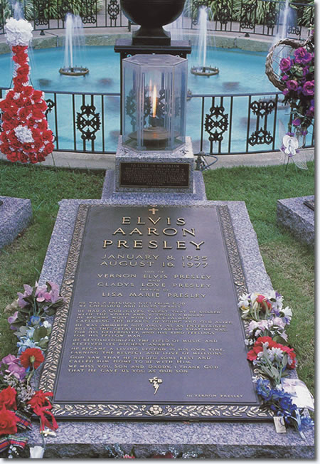 After Elvis' death on August 16, 1977, security issues at Forest Hill Cemetery, his original burial site, led to his reburial on October 2, 1977 on the south side of the pool with fountains. An eternal flame encased in a hexagonal glass container sits at the head of Elvis' grave.